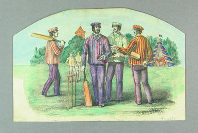 Lithograph, depicts cricketers in striped blazers