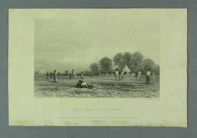 """Engraving:  """"The Game of Cricket"""" by E. Radcliffe after D. Cox 1943"""