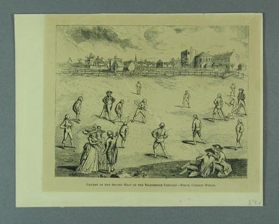 """Engraving, """"Cricket in the Second Half of the Eighteenth Century - White Conduit Fields"""""""