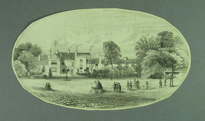 Print, depicts cricket game in progress