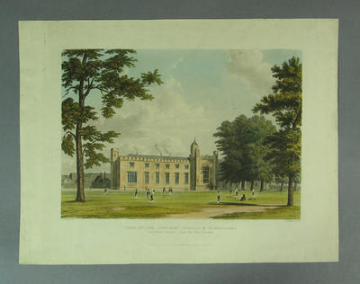 """Engraving:  """"View of the Southern Schools and Dormitories of Rugby School"""""""