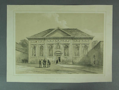 """Lithograph, """"Exterior of School Room"""""""