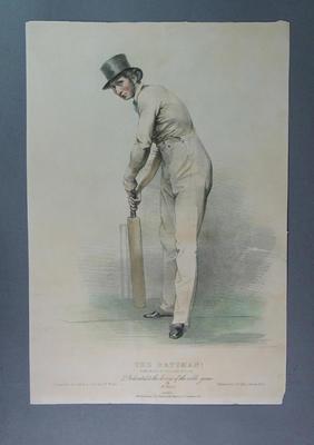 """Lithograph:   """"The Batsman! - Portrait of Fuller Pilch"""""""