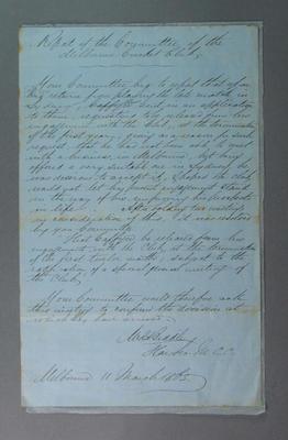 Letter written by MCC Hon Secretary WC Biddle, regarding resignation of W Caffyn, 11 March 1864