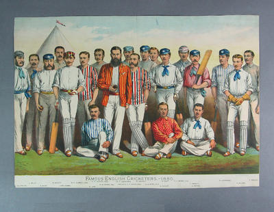 """Print, """"Famous English Cricketers - 1880"""""""