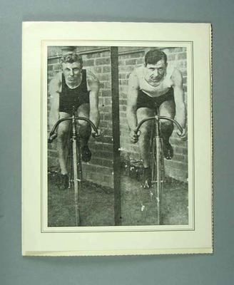 Black and white photograph of cyclists Paddy Hehir and Eric Goulette.
