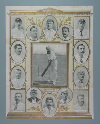 Poster with portraits of English cricketers from the late-nineteenth century; Artwork; M8633