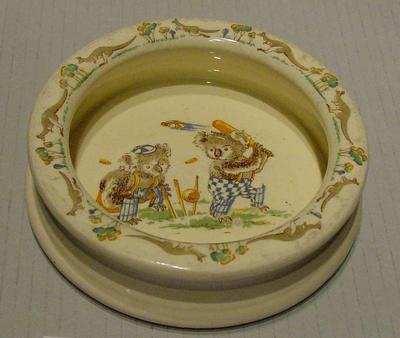 Bowl, depicts koalas playing cricket