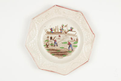 Plate, depicts a game of cricket in progress