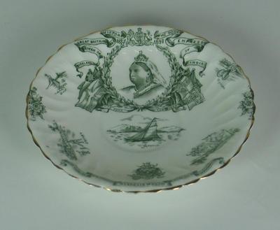 Saucer, commemorates Queen Victoria Diamond Jubilee; Domestic items; M5027