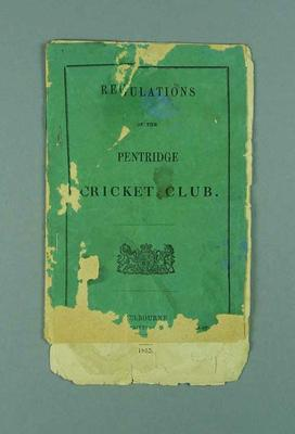 "Booklet, ""Regulations of the Pentridge Cricket Club 1855"""