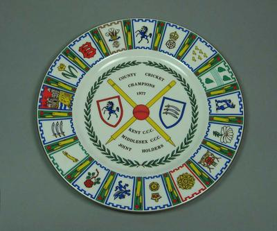 Plate, County Cricket Champions - Kent & Middlesex 1977
