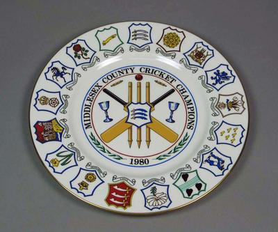 Plate, County Cricket Champions - Middlesex 1980
