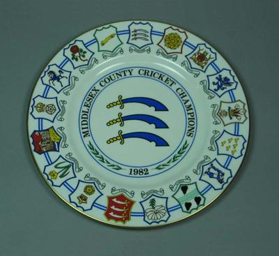 Plate, County Cricket Champions - Middlesex 1982