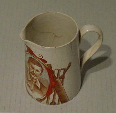 Jug, features portraits of cricketers