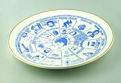 Commemorative ceramic plate, depicting events of the year 1981