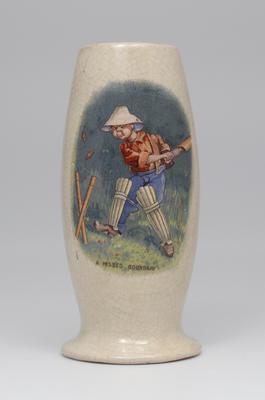 Vase, boy cricketer design