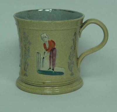 Mug with multicoloured raised figures; Domestic items; M5125
