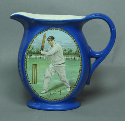 Ceramic jug, image of cricketer W M Woodfull