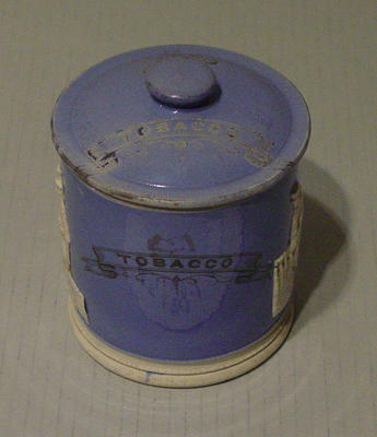 Tobacco jar, images of two cricketers