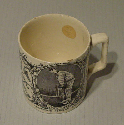 Commemorative  mug, images of Lord Hawke and  Hon. F.S. Jackson