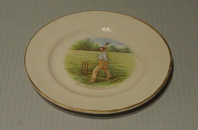 Plate, image of cricketer Syd Barnes