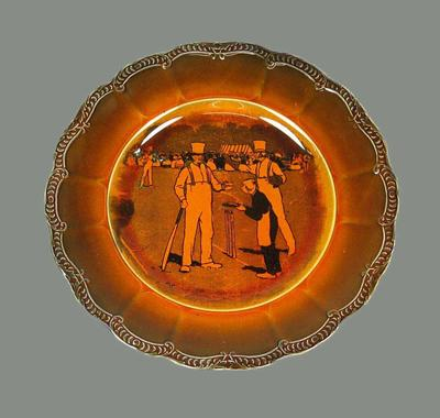 Ceramic plate with cricket scene print, advertising Cadbury's