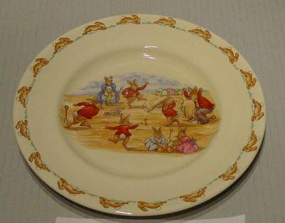 Plate, image of Bunnykins characters playing cricket