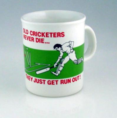 """Mug, """"Old Cricketers Never Die..."""""""