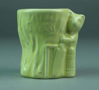 """Egg cup, image of bear cricketer """"SOOTY"""""""