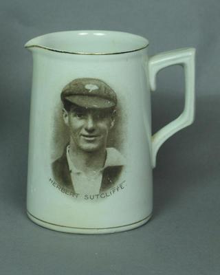 Ceramic jug with printed portrait of Herbert Sutcliffe
