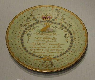Plate presented to W E Bowers, Caverswall Cricket Club - 1896
