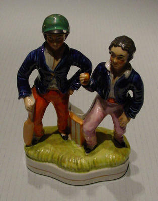 Figurine, depicts two cricketers