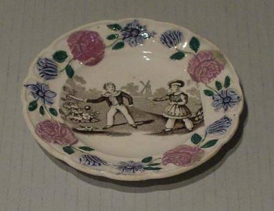 Plate, Victorian cricket scene