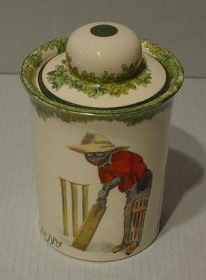 Biscuit barrel, boy cricketer design