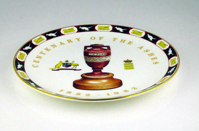 Commemorative plate, Centenary of the Ashes 1882-1982; Domestic items; M5249.1