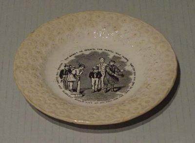 """Plate, cricket design with text """"The basket he opend the parcel was flown...""""; Domestic items; M5253"""