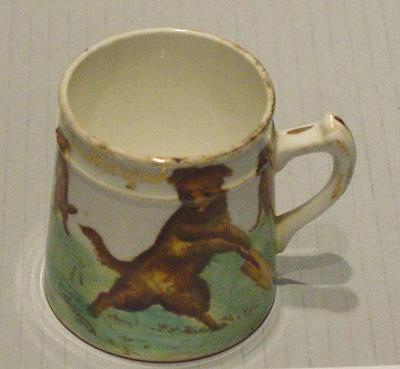 Ceramic mug, 'A Present from Margate', featuring image of dogs playing cricket