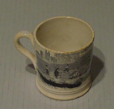 Ceramic mug with Victoria era cricket scene, 'Cricket Playing'