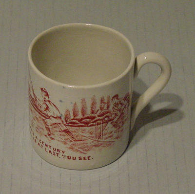 Mug, cricket scene