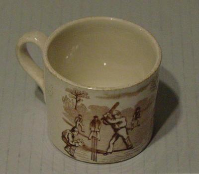 Mug, cricket scene design