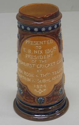 Jug presented to President of Trashurst Cricket Club, 1894
