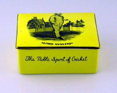 Jewellery box lid, cricket design