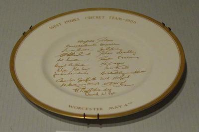"Plate, ""West Indies Cricket Team 1966"""