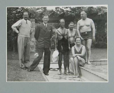 Photograph of a group of visiting English cricketers at Frank Beaurepaire's house, circa 1946
