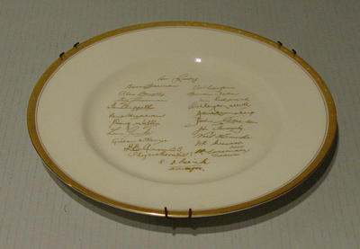 "Plate, ""Australian Touring Side of England 1968"""