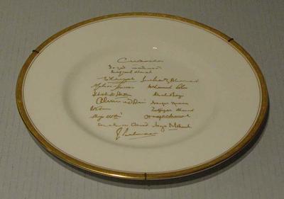 "Plate, ""Pakistan Touring Side - England 1954"""