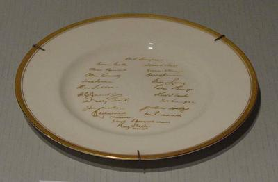 "Plate, ""Australia Touring Side - England 1964"""