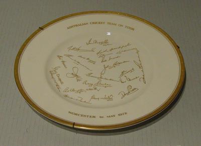 "Plate, ""Australian Cricket Team on Tour 1972"""