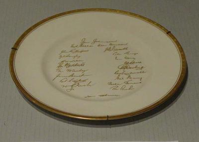"Plate, ""Australian Touring Side - 1956"""